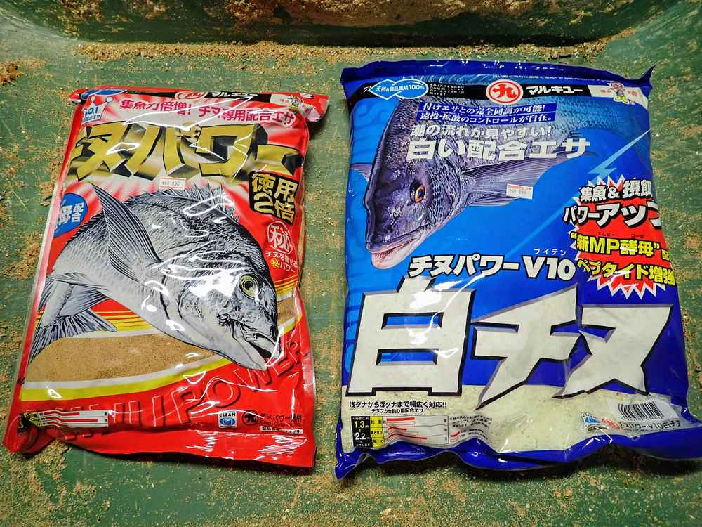 集魚剤2袋にオキアミ1枚+JAの麦とコーン
